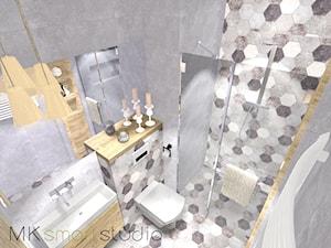Szara nowoczesna łazienka z dekorem heksagonalnym
