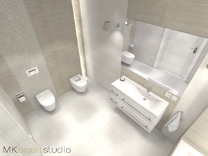 Stonowana popielata  łazienka