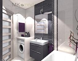 Od projektu do realizacji szarej nowoczesnej łazienki - Mała łazienka w bloku bez okna, styl nowoczesny - zdjęcie od MKsmartstudio