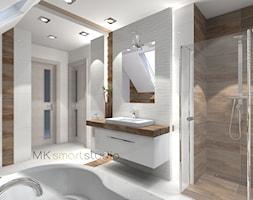 Łazienka w stylu skandynawskim - projekt - Duża biała łazienka na poddaszu w domu jednorodzinnym jako salon kąpielowy z oknem, styl skandynawski - zdjęcie od MKsmartstudio