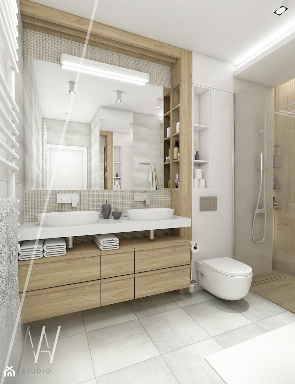 Ala ma kota... - Średnia biała szara łazienka na poddaszu w bloku w domu jednorodzinnym bez okna, styl nowoczesny - zdjęcie od AAW studio