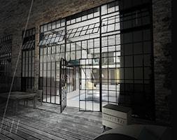 PROJEKT KONCEPCYJNY WNĘTRZ LOFTU O INDUSTRIALNYM CHARAKTERZE. - Średni taras z przodu domu z tyłu domu, styl industrialny - zdjęcie od AAW studio
