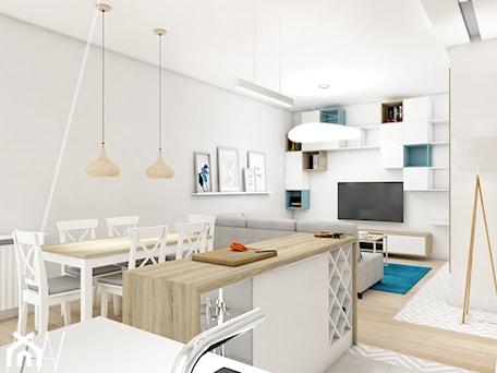Aranżacje wnętrz - Salon: Ala ma kota... - Mały biały salon z barkiem z kuchnią z jadalnią, styl nowoczesny - AAW studio. Przeglądaj, dodawaj i zapisuj najlepsze zdjęcia, pomysły i inspiracje designerskie. W bazie mamy już prawie milion fotografii!