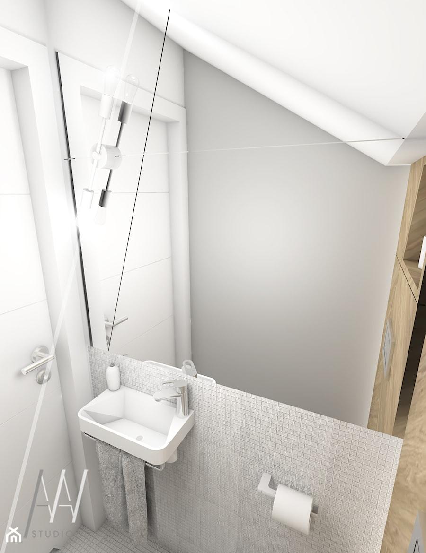 Ala ma kota... - Mała biała szara łazienka na poddaszu, styl nowoczesny - zdjęcie od AAW studio