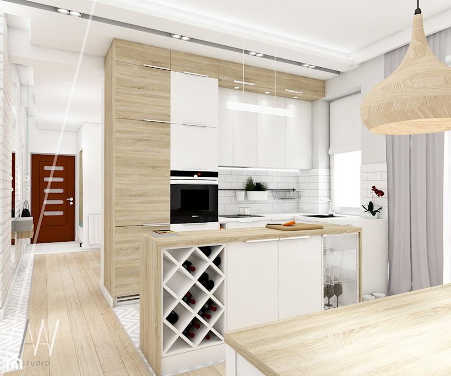 Ala ma kota... - Średnia otwarta wąska biała kuchnia w kształcie litery u w aneksie z oknem - zdjęcie od AAW studio