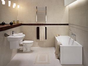 Średnia beżowa łazienka na poddaszu w bloku w domu jednorodzinnym bez okna - zdjęcie od Lazienkaplus.pl
