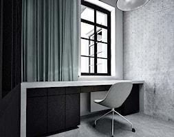 projekt wnętrz dom Opole - Małe czarne szare białe biuro kącik do pracy, styl industrialny - zdjęcie od archi.GO! pracownia projektowa