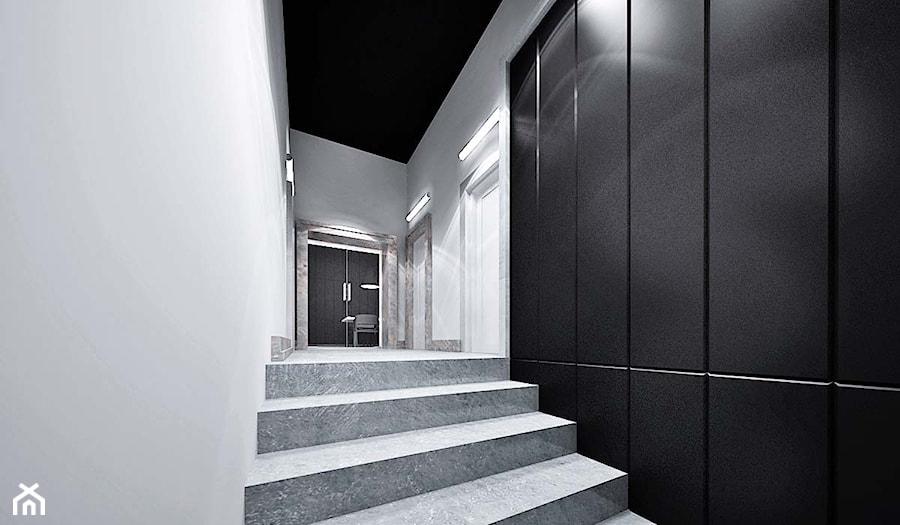 projekt wnętrz dom Opole - Średni biały czarny hol / przedpokój, styl industrialny - zdjęcie od archi.GO! pracownia projektowa
