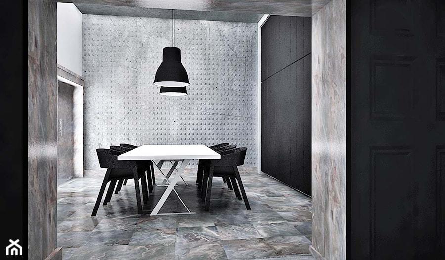 projekt wnętrz dom Opole - Duża otwarta czarna szara jadalnia jako osobne pomieszczenie, styl industrialny - zdjęcie od archi.GO! pracownia projektowa