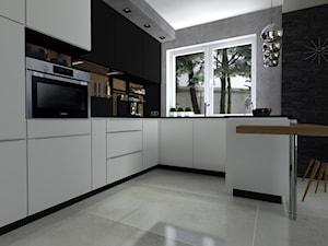 Korytarz DSW - Średnia otwarta szara czarna kuchnia w kształcie litery l z wyspą, styl nowoczesny - zdjęcie od katarzyna-heydrich