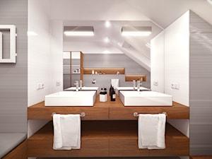 Dom pod Warszawą - Średnia biała szara łazienka na poddaszu w domu jednorodzinnym z oknem, styl nowoczesny - zdjęcie od HOME & STYLE Katarzyna Rohde