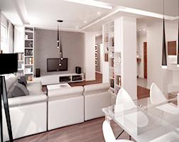 Stonowana elegancja - Średni szary biały salon z kuchnią z jadalnią, styl nowoczesny - zdjęcie od HOME & STYLE Katarzyna Rohde