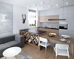 Szarość ocieplona drewnem - Mała otwarta biała kuchnia jednorzędowa w aneksie - zdjęcie od HOME & STYLE Katarzyna Rohde