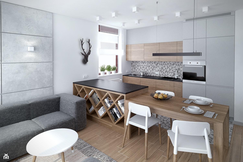 Szarość ocieplona drewnem - Mała otwarta biała kuchnia jednorzędowa w aneksie - zdjęcie od HOME & STYLE Katarzyna Rohde - Homebook