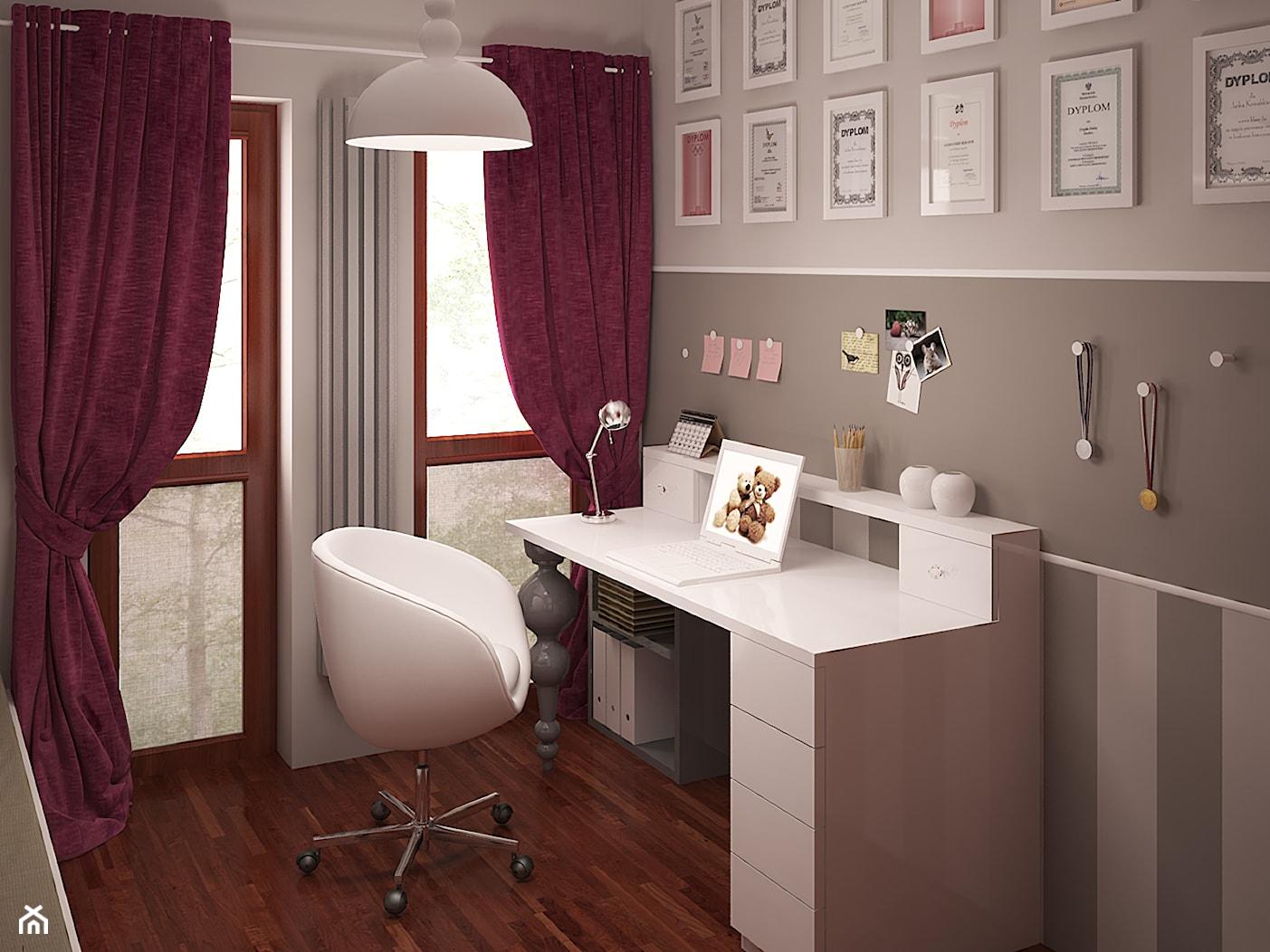 Pokój dziewczynki nieco klasycznie - Średni szary pokój dziecka dla chłopca dla dziewczynki dla ucznia dla nastolatka, styl klasyczny - zdjęcie od HOME & STYLE Katarzyna Rohde - Homebook