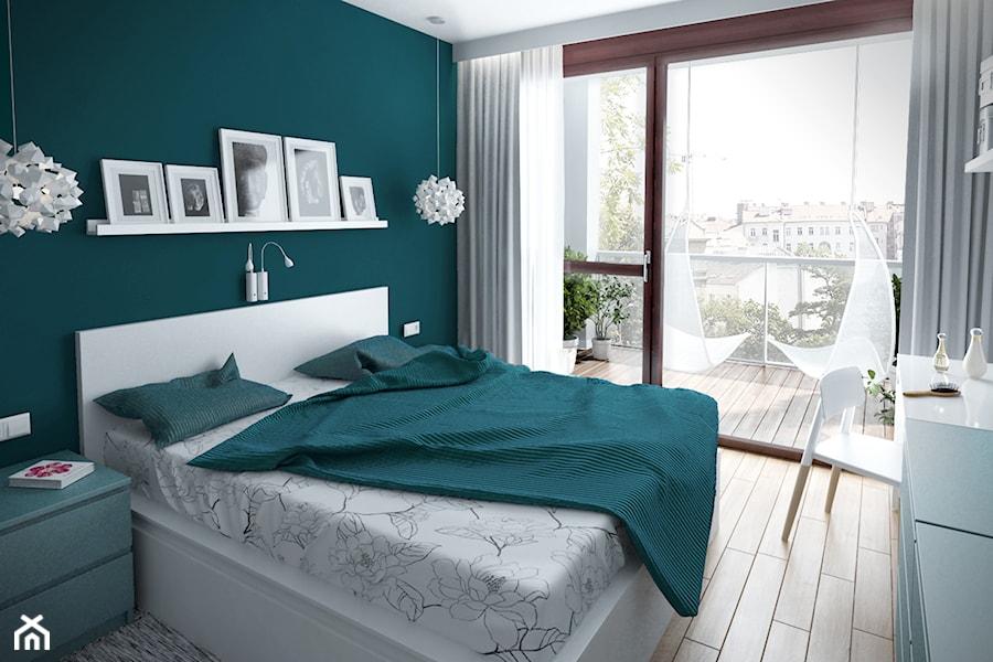 Szarość ocieplona drewnem - Średnia zielona sypialnia małżeńska z balkonem / tarasem, styl skandynawski - zdjęcie od HOME & STYLE Katarzyna Rohde
