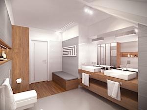 Dom pod Warszawą - Duża biała szara łazienka na poddaszu w domu jednorodzinnym, styl nowoczesny - zdjęcie od HOME & STYLE Katarzyna Rohde