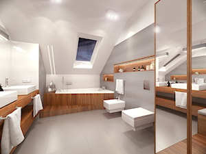 Dom pod Warszawą - Średnia beżowa szara łazienka na poddaszu w domu jednorodzinnym z oknem, styl nowoczesny - zdjęcie od HOME & STYLE Katarzyna Rohde