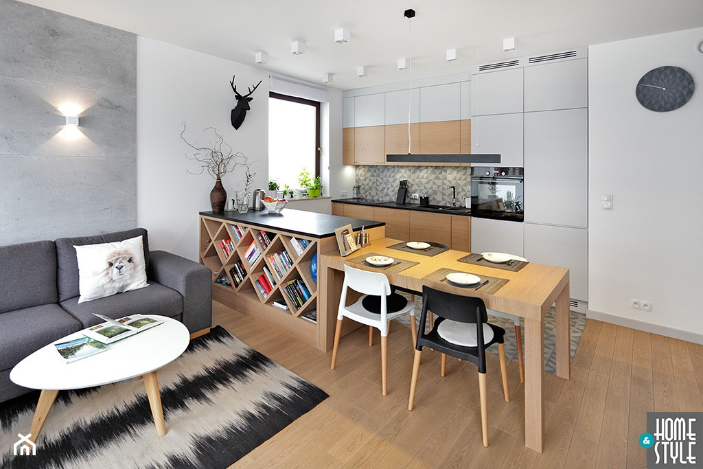 REALIZACJA mieszkania z czarnym jeleniem - Średnia otwarta biała szara kuchnia jednorzędowa w aneksie z wyspą, styl nowoczesny - zdjęcie od HOME & STYLE Katarzyna Rohde - Homebook