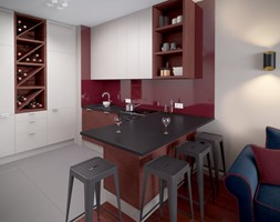 W kolorze czerwonego wina - Średnia otwarta kuchnia w kształcie litery u w aneksie, styl industrialny - zdjęcie od HOME & STYLE Katarzyna Rohde