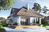 dom jednorodzinny biały z szarym spadzistym dachem