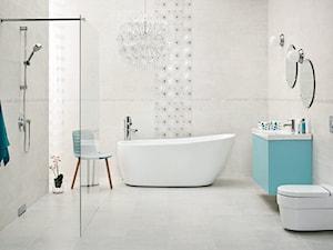 nirrad-niro - Duża szara łazienka w domu jednorodzinnym jako salon kąpielowy z oknem, styl skandynawski - zdjęcie od Ceramika Paradyż