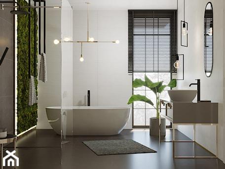 Aranżacje wnętrz - Łazienka: #AKCJAINSPIRACJA - Średnia biała szara łazienka w bloku w domu jednorodzinnym z oknem, styl minimal ... - Ceramika Paradyż. Przeglądaj, dodawaj i zapisuj najlepsze zdjęcia, pomysły i inspiracje designerskie. W bazie mamy już prawie milion fotografii!