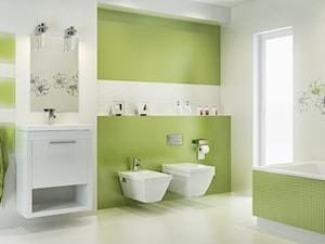 midian-purio - Średnia zielona łazienka na poddaszu w bloku w domu jednorodzinnym z oknem - zdjęcie od Ceramika Paradyż