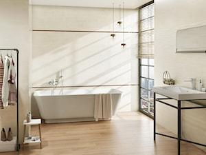 Tequila - Duża beżowa łazienka z oknem, styl minimalistyczny - zdjęcie od Ceramika Paradyż