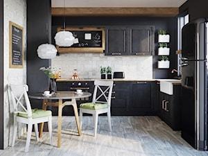 Moli - Średnia otwarta biała szara czarna kuchnia w kształcie litery l, styl vintage - zdjęcie od Ceramika Paradyż