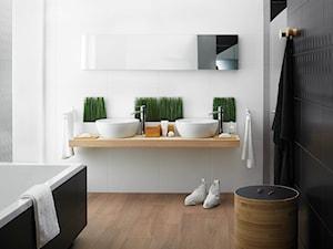 modul-purio - Średnia biała czarna łazienka na poddaszu w bloku w domu jednorodzinnym bez okna - zdjęcie od Ceramika Paradyż
