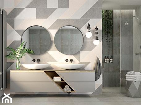 Aranżacje wnętrz - Łazienka: #AKCJAINSPIRACJA - Średnia szara łazienka w bloku w domu jednorodzinnym z oknem, styl skandynawski - Ceramika Paradyż. Przeglądaj, dodawaj i zapisuj najlepsze zdjęcia, pomysły i inspiracje designerskie. W bazie mamy już prawie milion fotografii!