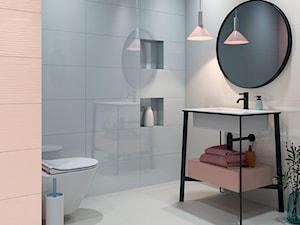 Synergy - Mała biała łazienka w bloku w domu jednorodzinnym bez okna, styl eklektyczny - zdjęcie od Ceramika Paradyż