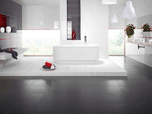 yoshioka-purio - Duża biała szara łazienka w domu jednorodzinnym jako salon kąpielowy jako domowe spa z oknem - zdjęcie od Ceramika Paradyż