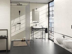 Tequila - Średnia biała łazienka na poddaszu w bloku w domu jednorodzinnym z oknem, styl minimalistyczny - zdjęcie od Ceramika Paradyż
