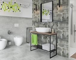 Ermeo / Ermo - Średnia biała szara łazienka w domu jednorodzinnym z oknem, styl industrialny - zdjęcie od Ceramika Paradyż