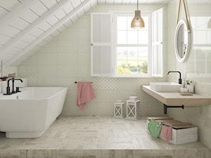 Martynika - Średnia beżowa łazienka na poddaszu w domu jednorodzinnym z oknem, styl skandynawski - zdjęcie od Ceramika Paradyż