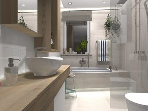 #AKCJAINSPIRACJA - Średnia łazienka w bloku w domu jednorodzinnym z oknem, styl skandynawski - zdjęcie od Ceramika Paradyż
