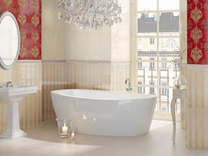 inspiration-inspiro - Średnia beżowa czerwona łazienka w bloku w domu jednorodzinnym z oknem, styl klasyczny - zdjęcie od Ceramika Paradyż