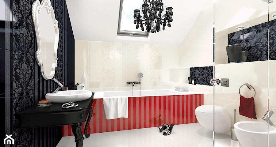 bellicita-purio - Średnia beżowa czarna łazienka na poddaszu w domu jednorodzinnym, styl glamour - zdjęcie od Ceramika Paradyż