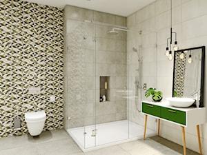 Enya - Duża beżowa szara łazienka w domu jednorodzinnym, styl rustykalny - zdjęcie od Ceramika Paradyż