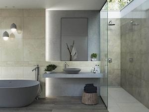 Naturstone - Duża łazienka w domu jednorodzinnym jako salon kąpielowy z oknem, styl minimalistyczny - zdjęcie od Ceramika Paradyż