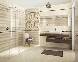 coraline-coral - Średnia beżowa łazienka na poddaszu w bloku w domu jednorodzinnym bez okna, styl minimalistyczny - zdjęcie od Ceramika Paradyż