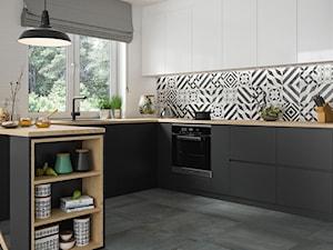 Modern - Średnia otwarta biała kuchnia w kształcie litery u w aneksie z oknem, styl skandynawski - zdjęcie od Ceramika Paradyż
