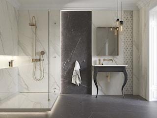Luksusowa łazienka w 3 odsłonach – jak ją zaaranżować przy użyciu błyszczących płytek?