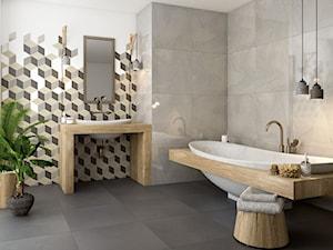 Rockstone - Średnia biała łazienka w bloku w domu jednorodzinnym bez okna, styl skandynawski - zdjęcie od Ceramika Paradyż