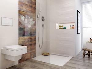 manteia - Duża biała brązowa kolorowa łazienka w domu jednorodzinnym z oknem, styl skandynawski - zdjęcie od Ceramika Paradyż