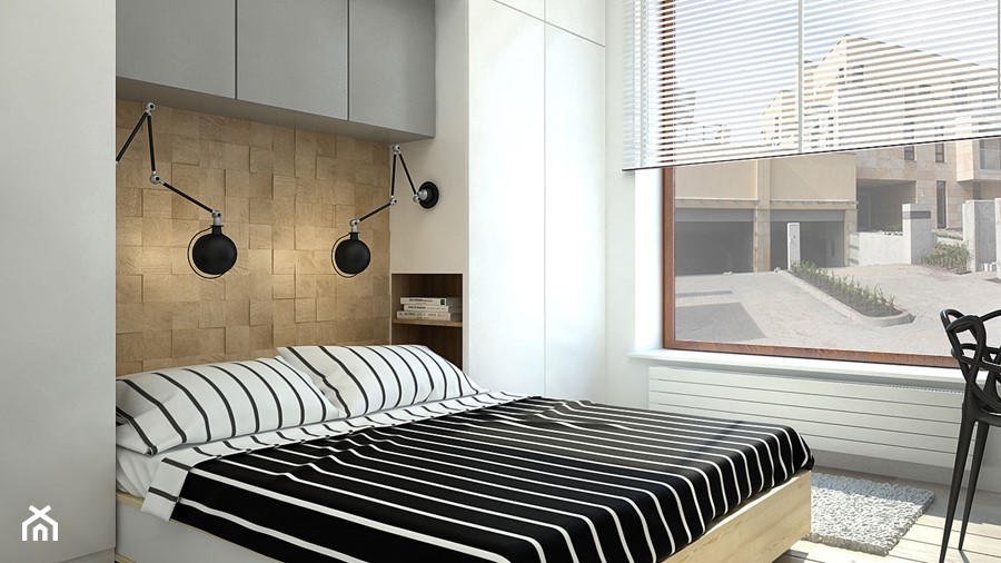 Aranżacje wnętrz - Sypialnia: SŁOWIAŃSKI AKCENT - Średnia beżowa biała sypialnia małżeńska, styl skandynawski - WNĘTRZOMANIA. Przeglądaj, dodawaj i zapisuj najlepsze zdjęcia, pomysły i inspiracje designerskie. W bazie mamy już prawie milion fotografii!