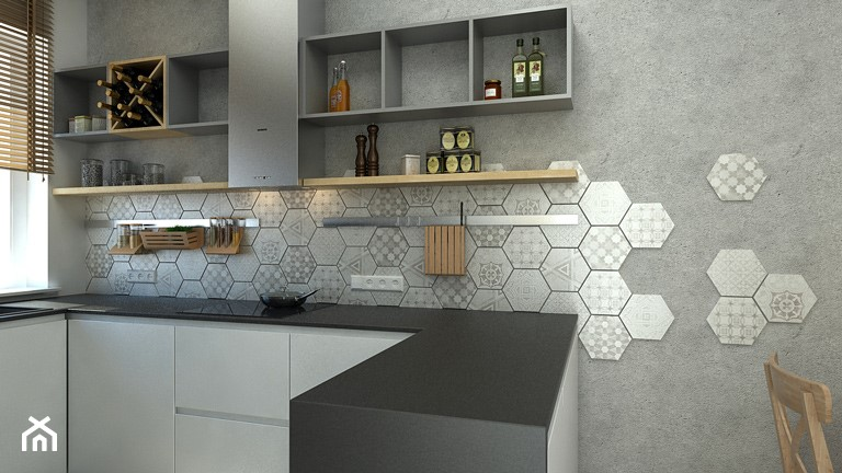 Cementowy patchwork - Kuchnia, styl nowoczesny - zdjęcie od WNĘTRZOMANIA - Homebook