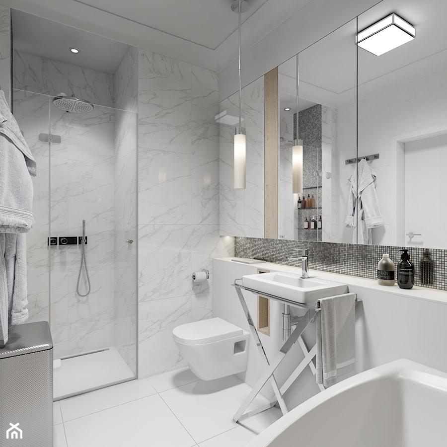Z nutą glamour - Średnia biała łazienka na poddaszu w bloku w domu jednorodzinnym bez okna, styl glamour - zdjęcie od TutajConcept